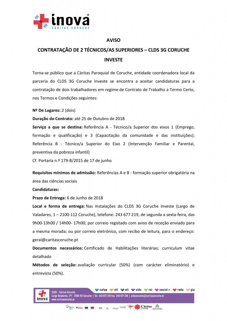 AVISO Contratação 2 técnicos CLDS